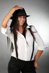 Smiling yong girl in hat