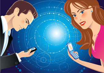 A girl and a guy talking through sms