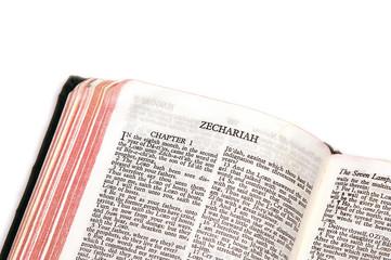 bible open to zechariah