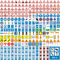 three hundread vector detailed european traffic signs