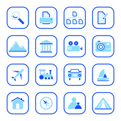 Photo and travel icons - blue series
