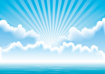 Vector calm sea  with clouds and sun rays