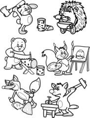 Animals behind work