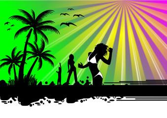 Party Insel mit Frauen
