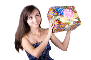 The young girl with a gift box