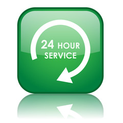 "Square ""24 HOUR SERVICE"" button with reflection (green)"