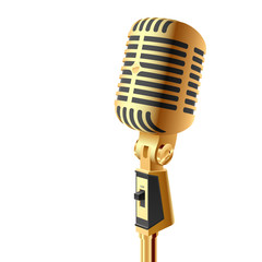 Gold microphone. Vector.