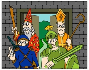 Dungeon Crawl RPG party - Warrior, Ninja, Wizard and Priest
