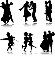 dancing vector silhouettes