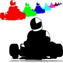 karting sport vector silhouettes