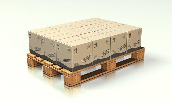 Europalette mit Kartons 03 - Logistik