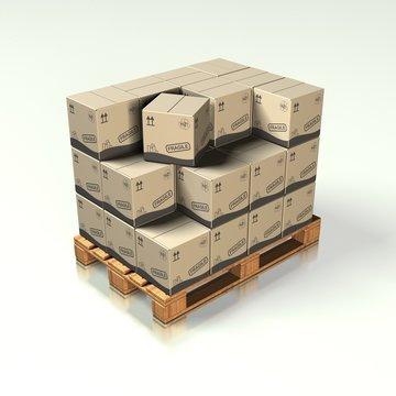 Europalette mit Kartons 04 - Logistik
