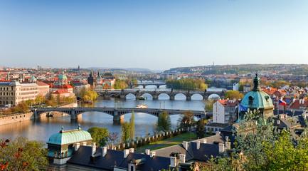 Acrylic Prints Prague View on Prague Bridges at sunset