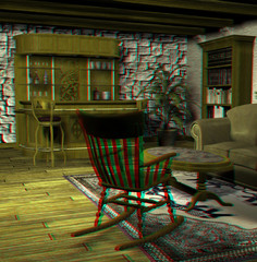 anaglyph image of living room. with red-blue specs you see 3D