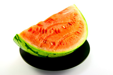Watermelon on a Black Plate