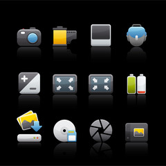 Icon Set in Black - Photography Equipment