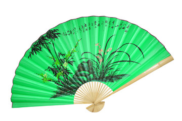 green Chinese fan on a white background