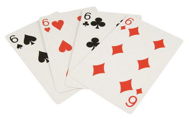 four six playing cards isolated on white