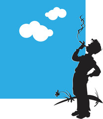 Silhouette of the teenager