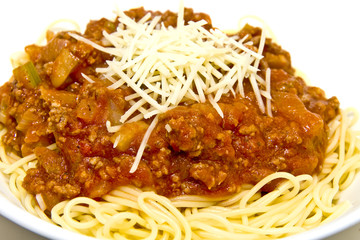 Spaghetti with Meat Sauce and Parmesan Cheese