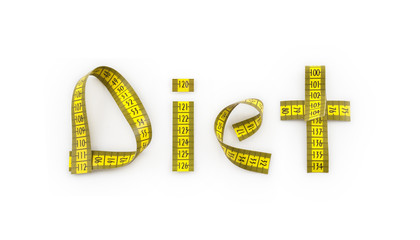 Diet written with tape measure (path/see also)