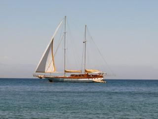 Sailing vessel on the sea