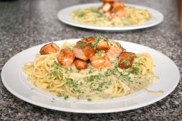 Lachs Spaghetti
