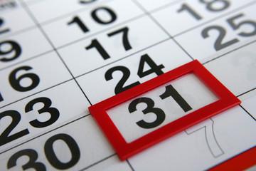 Kalender Monatsende 31