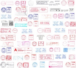 colorful background, postmarks from the world