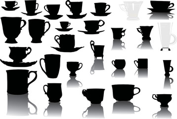 set of cups with reflections