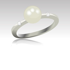 detailed ring with pearl and diamonds isolated vector