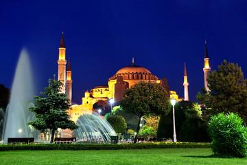 Sultanahmet night on front of Hagia Sophia