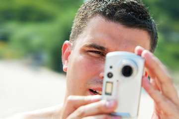 Man taking picture on holidays