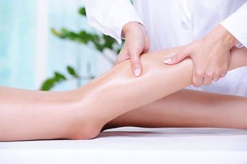 Massaging of the human leg