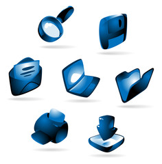 Luminous blue icons for computer and website