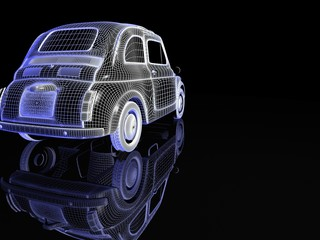 vintage car isolated with reflection