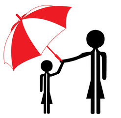 woman and child under umbrella in  red and white