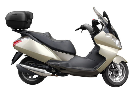 scooter motorcycle with trunk isolated