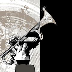 trumpet on grunge background