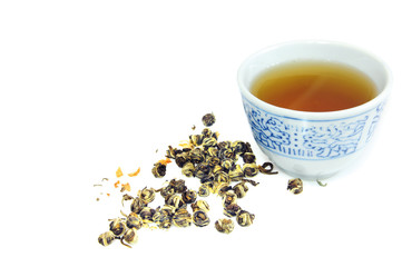 chinese jasmin tea with tea in cup