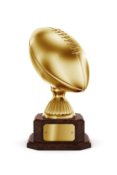 Gold American football trophy