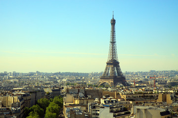 The Eiffel Tower, Paris, France, with the skyline of Paris