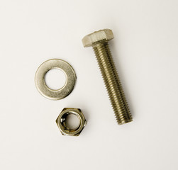 Nut Bolt and Washer with 3 clipping paths