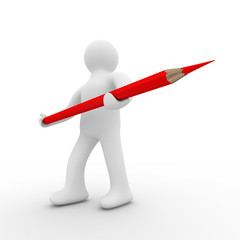 Man with pencil on white background. Isolated 3D image