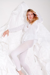 Printed kitchen splashbacks Artist KB High fashion posing beautiful blond girl all in white