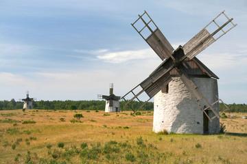 Historische Windmühlen auf der Insel Fanö, Gotland (Schweden)