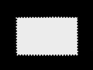 empty single post stamp isolated on black background