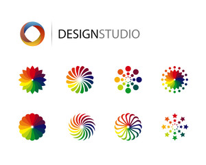 Set of design graphic elements on white background