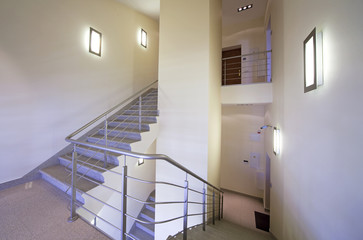 Ladder of business corporate building interior staircase