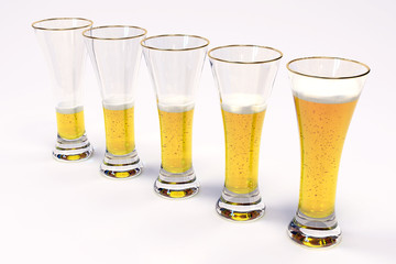 five glasses with beer